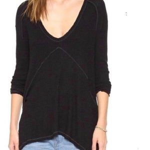 FREE PEOPLE Black Waffle Knit Thermal Top